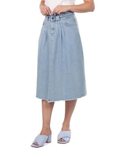 BLUE WHİTE Kadın Açık Mavi Paperbag Jean Etek Mavi